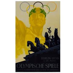 Original Vintage Poster by Franz Wurbel for the Berlin 1936 Summer Olympic Games