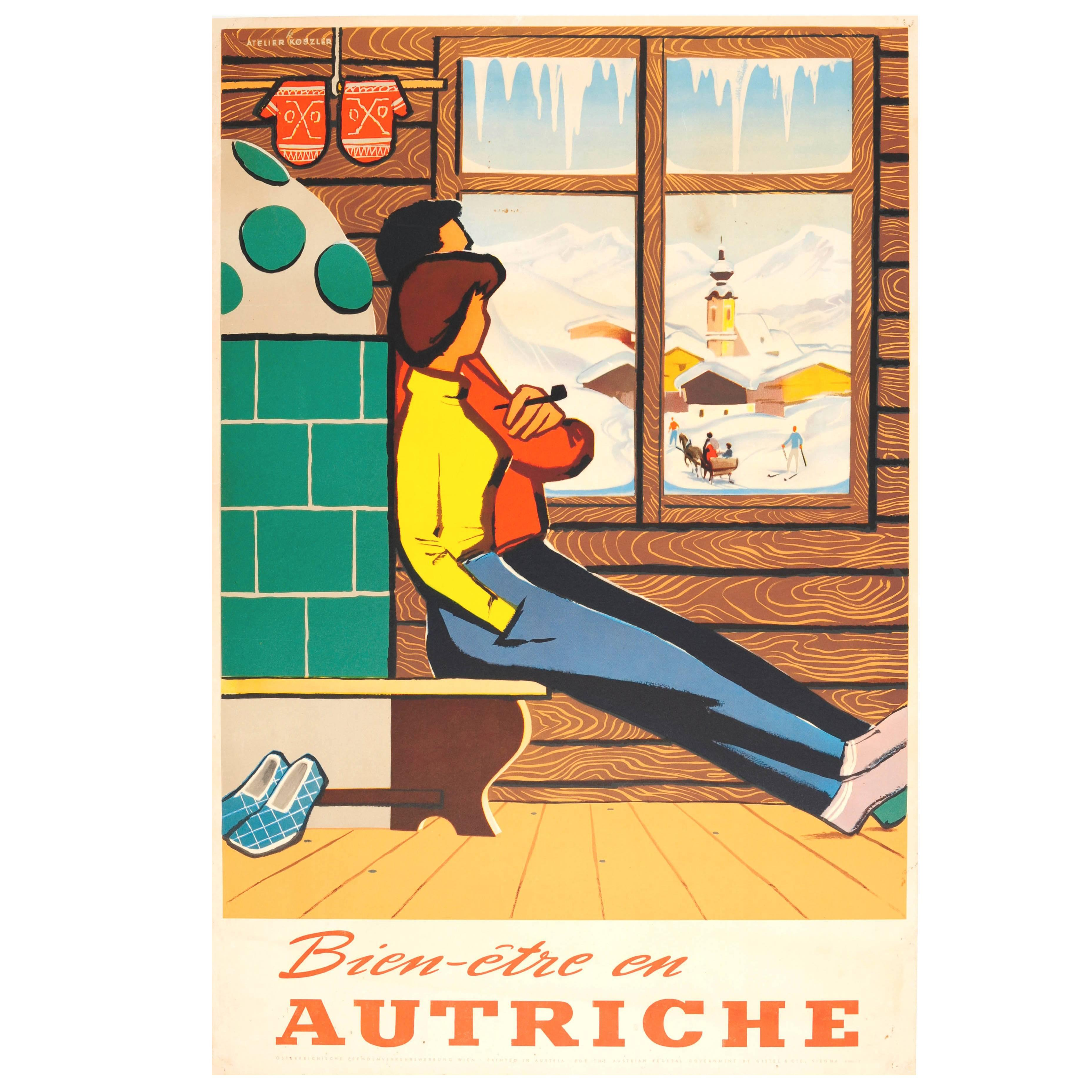 Original Vintage Austria Winter Sport Skiing Travel Poster Bien-etre en Autriche