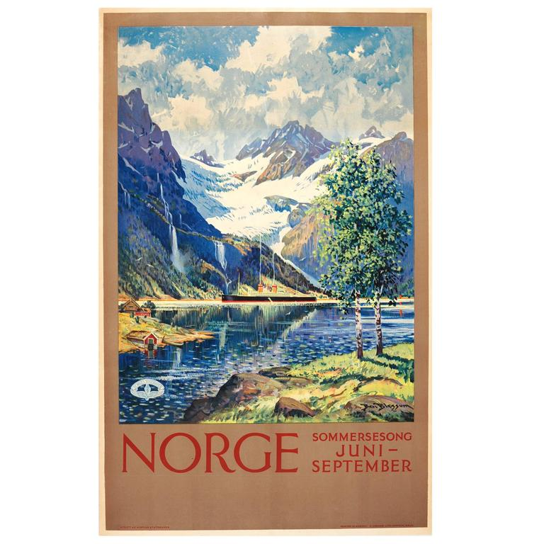 "Original Vintage 1920s Railway Travel Advertising Poster ""Norway - Summer Song"""