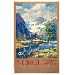 Original Vintage State Railway Travel Poster Norge Norway Summer Season ft Fjord