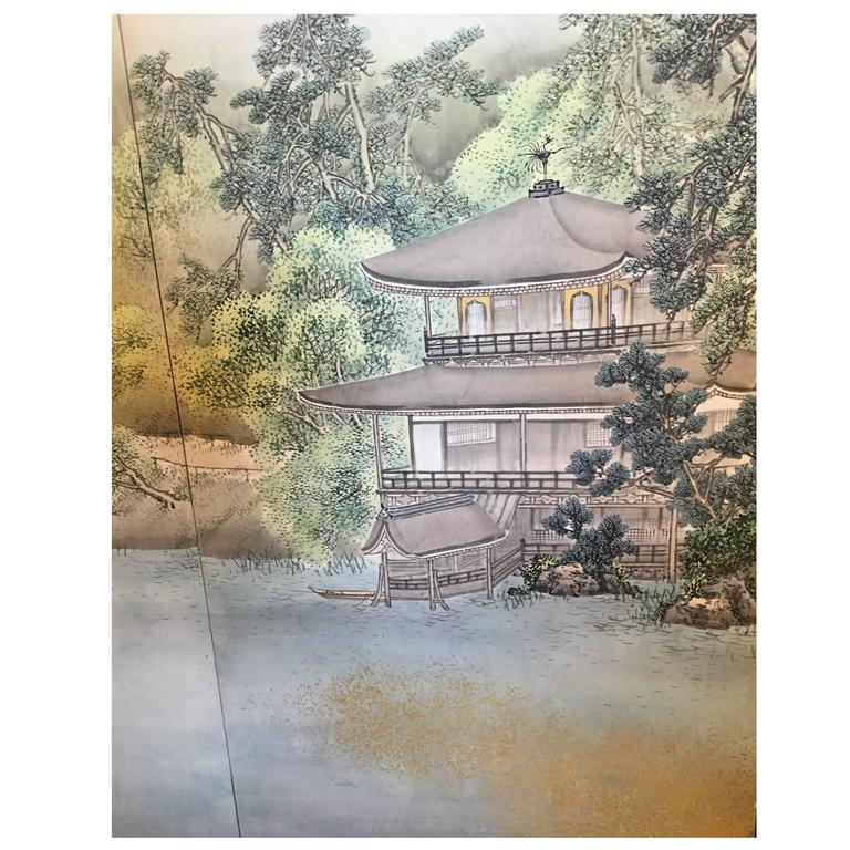 Japan, a fine summer mist accents this splendid expansive silk screen, gold and pigment on silk ,six-panel screens, measuring 141 inches in length fully extended and 68.75 inches in height  Period:  Taisho period, 1915  Signed:  Hasegawa Gyokujun,