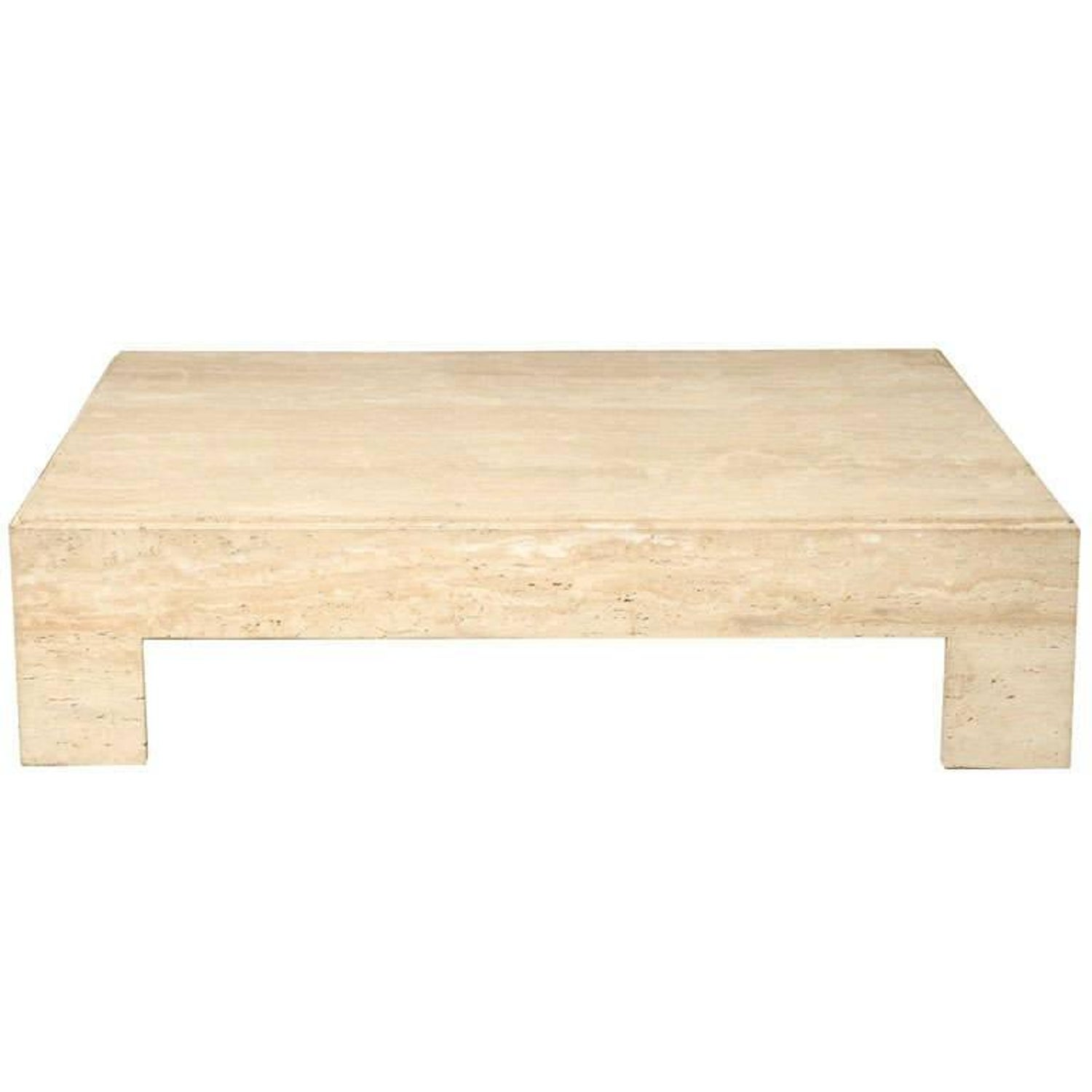 travertine coffee table in the style of willy rizzo at 1stdibs
