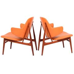 Pair of easy Chairs by Ib Kofod-Larsen for Christensen & Larsen
