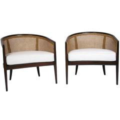 Pair of Caned and Walnut Lounge Chairs Kipp Stewart for Directional