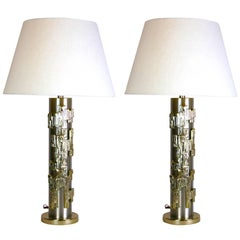 Rare Pair of Mid-Century Stainless Steel and Brass Lamps