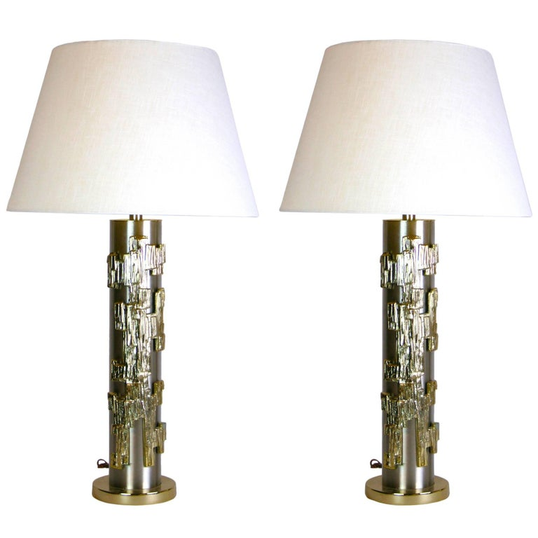 Rare Pair of Mid-Century Stainless Steel and Brass Lamps For Sale