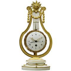 18th Century French Swinging Lyre Skeleton Clock