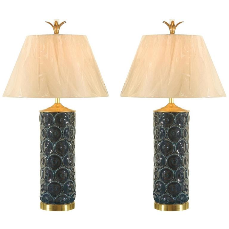 Stunning Restored Pair of Vintage Ceramic, Brass and Lucite Lamps