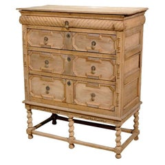 English Bleached Oak Chest on Stand with Geometrical Front and Barley Twist Legs