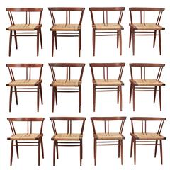 Set of 12 Grass Seat Chairs by George Nakashima, New Hope, Pennsylvania