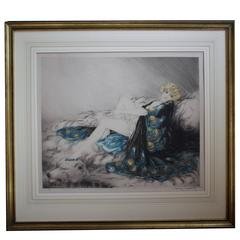 "French Hand Signed Etching ""La Robe de Chine/Silk Robe"" by Louis Icart"