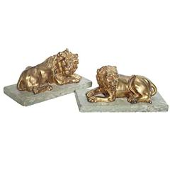 Fine Pair of Gilt Bronze Lion and Lioness on Marble Bases, Italy