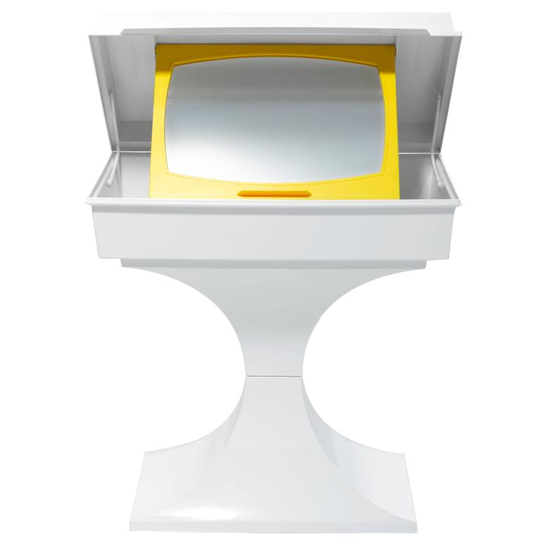 """""""POP"""" Child Vanity or Desk in White and Yellow Plastic with Mirror, 1970s"""