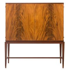 Oscar Nilsson Attributed, Swedish Flame Mahogany and Marquetry Cabinet / Bar