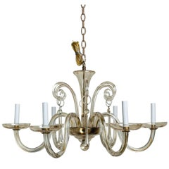 Pale Amber Murano Glass Six-Light Chandelier