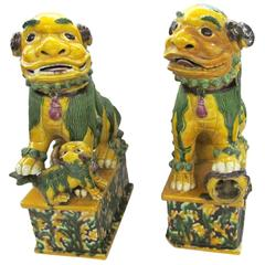 Antique Chinese Export Polychrome Ceramic Foo Dogs on Fixed Mottled Bases
