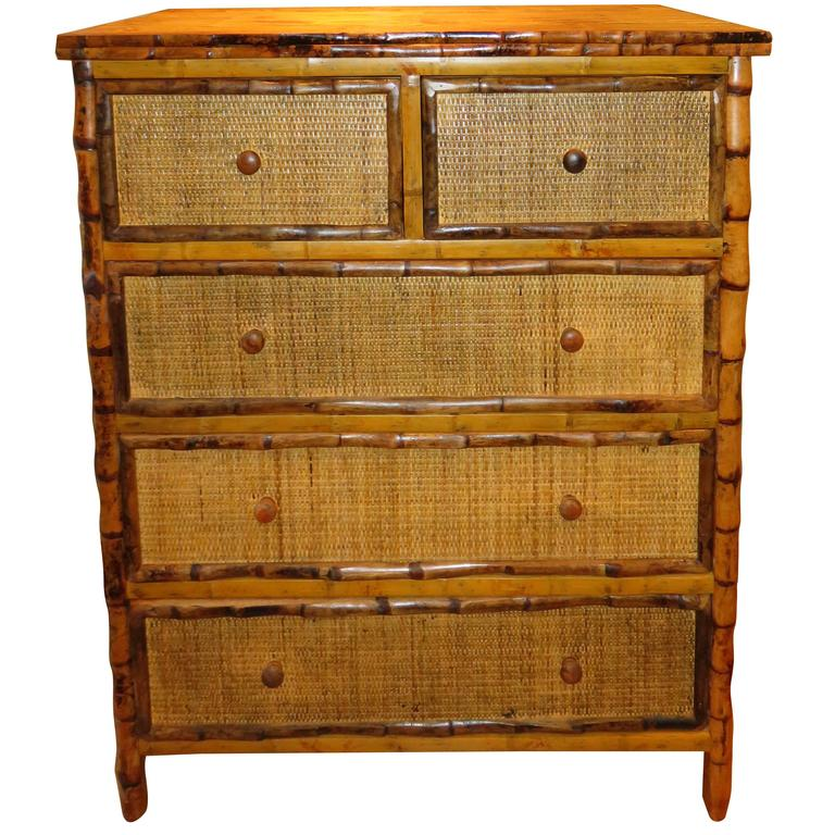 Bamboo and Cane Dresser/Drawers For Sale