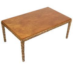 Phyllis Morris Style Dining Table Laurel Leaf Carved Leg, 1950s