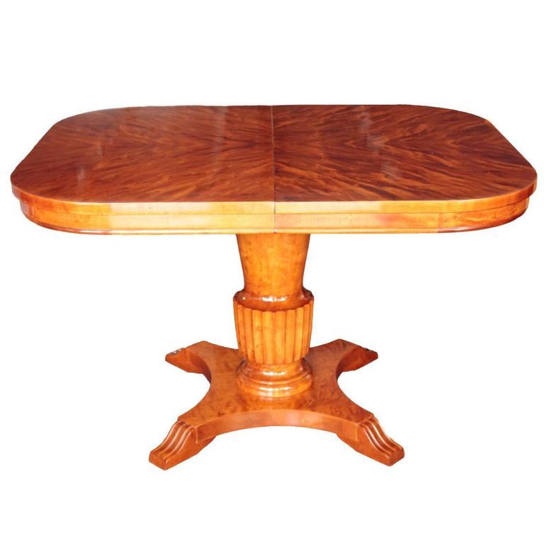 Versatile Swedish Art Deco Period Rectangular Swivel Extension Table