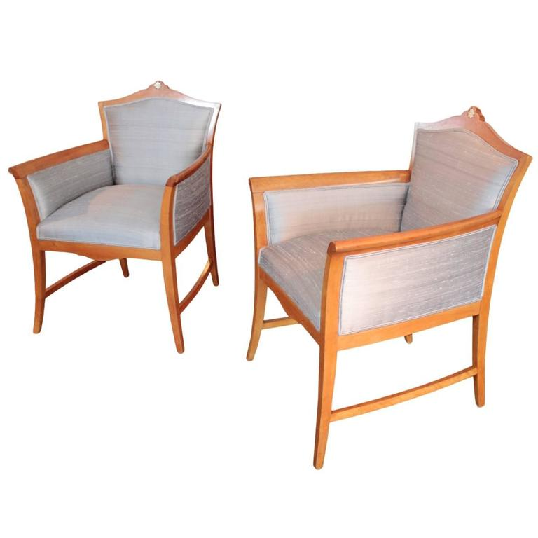 Pair of Swedish Jugendstil Period Tub Chairs 1