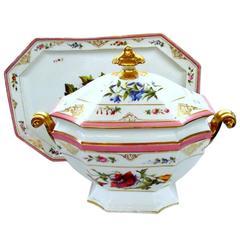 Antique French Porcelain de Paris Hand-Painted Soup Tureen and Matching Platter