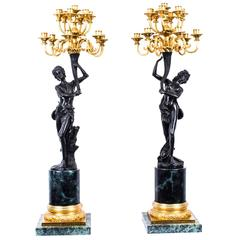 Pair of Huge Empire Style Bronze and Gilded Bronze Candelabras