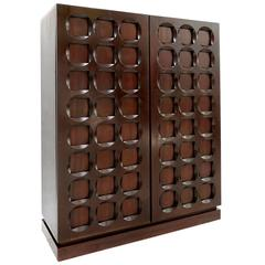 Brutalist Mahogany Bar Cabinet