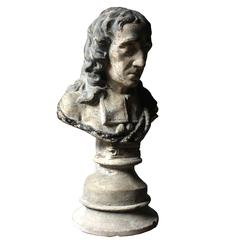 Decorative Late Victorian Painted Plaster Portrait Library Bust of John Milton