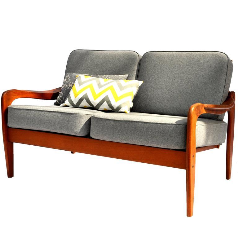 two seat teak sofa from komfort at 1stdibs. Black Bedroom Furniture Sets. Home Design Ideas