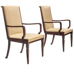 Isidor Hörlin Attributed, Large Pair of Swedish Grace Period Birch Armchairs