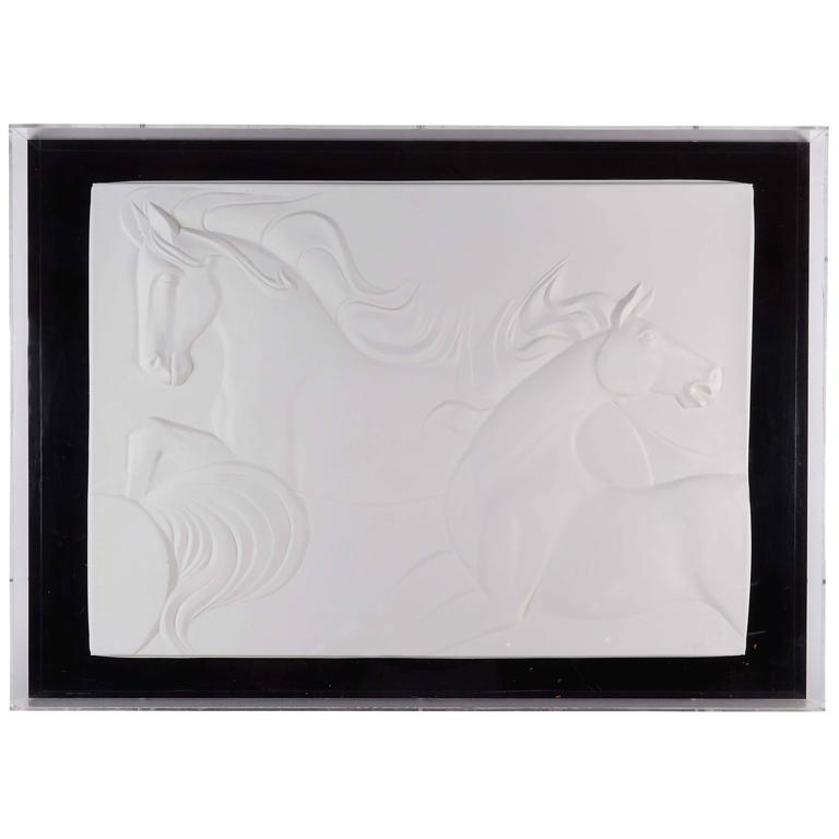 Bas Relief With Wild Horses Signed A Sombras At 1stdibs