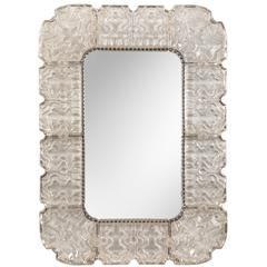 Carl Fagerlund for Orrefors, A Powder Room Scaled Swedish Cast Glass Mirror