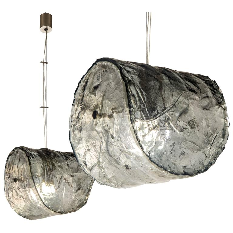 Carlo Nason for Mazzega, Pair of Murano Glass and Steel Pendants