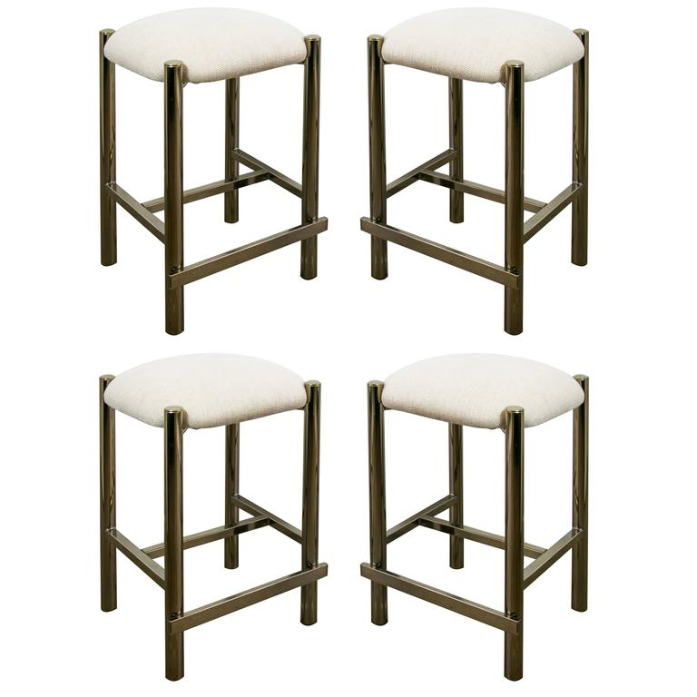 Four Brass Counter Height Bar Stools In The Style Of Milo