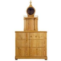 Rare Rustic Swedish Pine Clock Cupboard