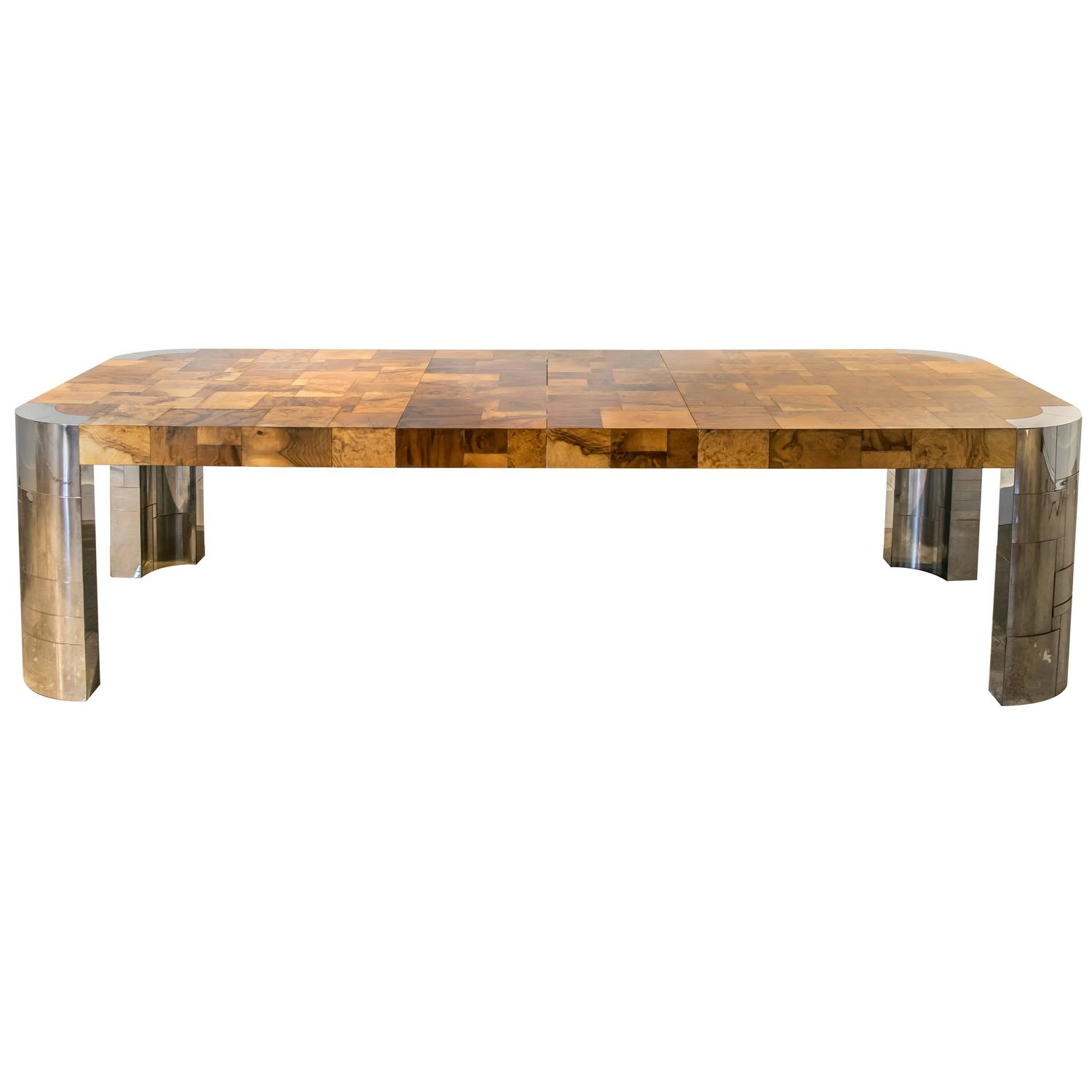 Signed paul evans cityscape extra long burl and chrome for Extra long dining room tables sale