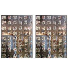 Pair of Custom Reverse-Painted Mirrors, 'City Windows'