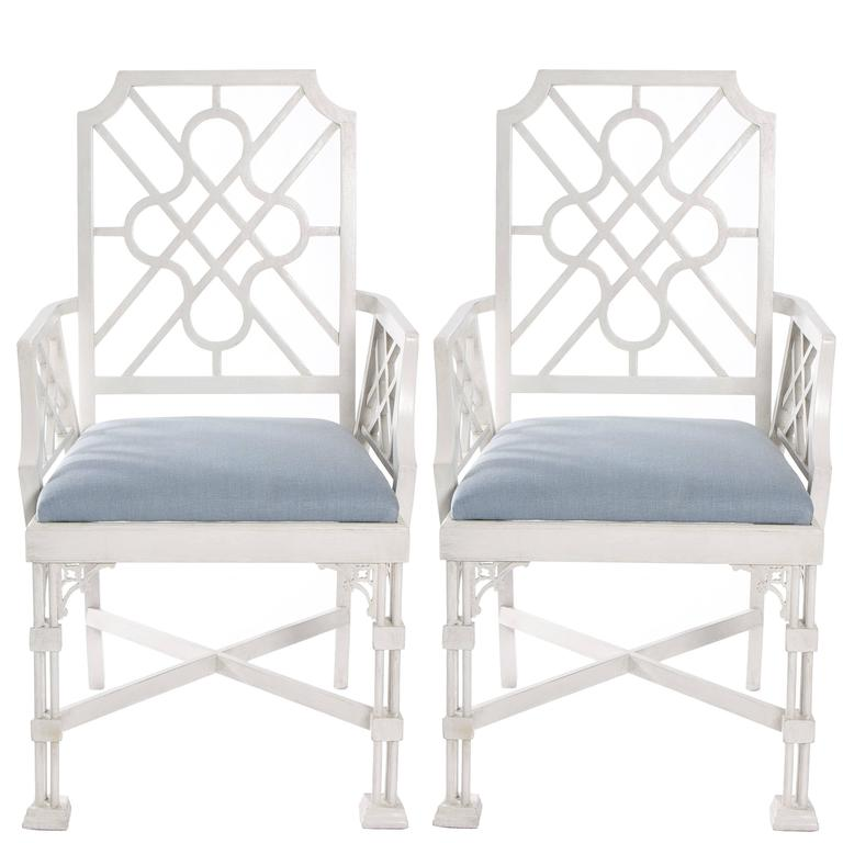 Pair of White Painted Chinese Chippendale Style Fretwork Armchairs