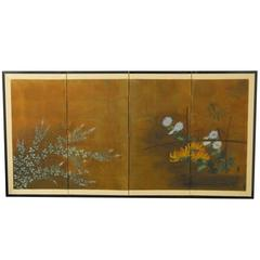 Four Panel Japanese Garden Screen