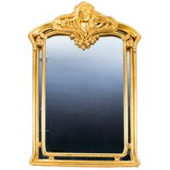 Beautiful French Art Nouveau Carved Giltwood Mirror 103 x 71 cm