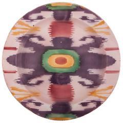Early 20th Century Kuznetsov Ceramic Plate, Glazed with Spray Ikat Design