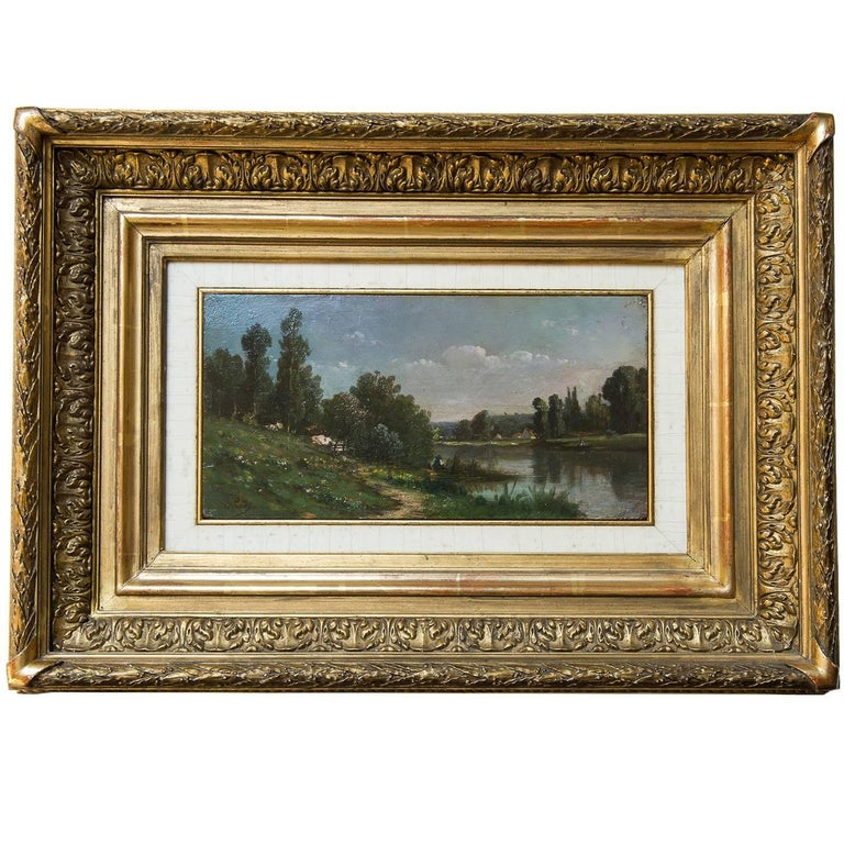 Countryside Landscape Old French Painting Like a Miniature For Sale
