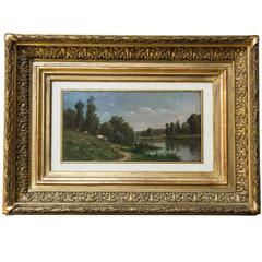 Countryside Landscape Old French Painting Oil on Wood