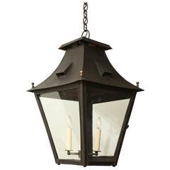 Italian 19th Century Painted Metal and Glass Lantern