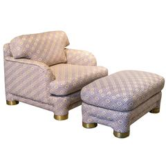Oversized Lounge Chair and Ottoman by Marge Carson with Brass Detailing