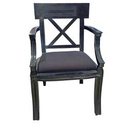 Neoclassic Empire Style Black Armchair with Cushion