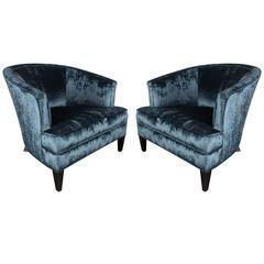 Elegant Pair of Curved-Back Armchairs in Sapphire Blue Velvet by Ward Bennett