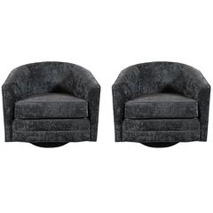 Luxe Pair of Milo Baughman Curved-Back Swivel Chairs in Gauffrage Croc Velvet