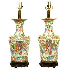 Fine Pair of Rose Medallion Vases