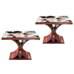Pair of Eggshell and Rosewood Side Tables